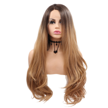 ISABELLA - Lace Front Long Wavy Ombre Brown Wig - by Queenie Wigs