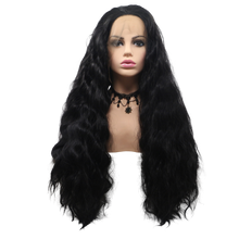 CHARLOTTE - Lace Front Long Wavy Black Wig - by Queenie Wigs