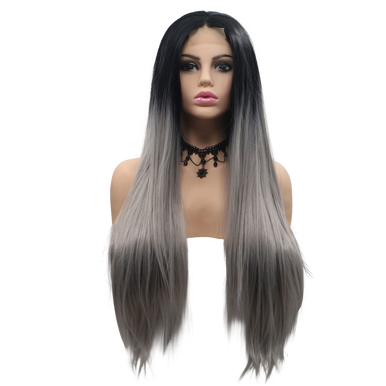 AMELIA - Lace Front Long Straight Silver Ombre Wig - by Queenie Wigs