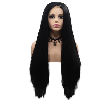ABIGAIL - Lace Front Long Straight Black Wig - by Queenie Wigs