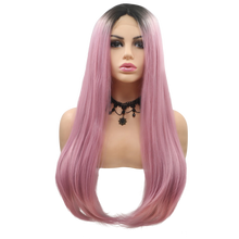 EMILY - Lace Front Long Straight Ombre Pink Wig - by Queenie Wigs
