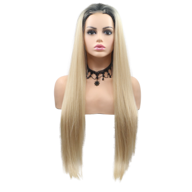 SCARLETT - Lace Front Long Straight Ombre Blonde Wig - by Queenie Wigs