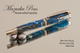 Handmade Writing Instrument Blue Swirl Chrome and Gold Finish