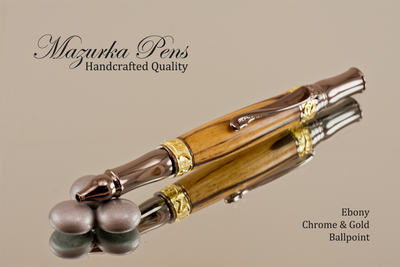 Black and White Ebony Chrome and Gold Ballpoint Pen