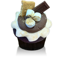 Chocolate cake with graham cracker crust with marshmallow icing sprinkled with graham cracker crumbs and topped with a mini Hershey bar
