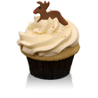 Madagascar Bourbon Vanilla Bean cake with eggnog buttercream sprinkled with nutmeg and a fondant Rudolph