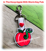 In the hoop Apple With Worm Key Fob EMbroidery Machine Design