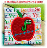 In The Hoop Apple With Worm Coaster EMbroidery Machine Design