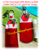In The Hoop Apple With Worm Lip Balm Holder EMbroidery Machine Design