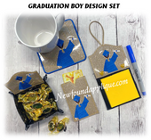 In The hoop Graduation Boy Embroidery Design Set