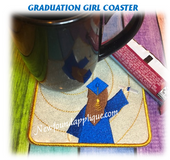 In The Hoop Graduation Girl Coaster Embroidery Machine Design