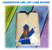 In The Hoop Graduation  Girl Gift Card Holder Machine Embroidery Design
