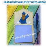 In The Hoop Graduation Girl Sticky Note Holder Embroidery Machine Design