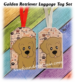 In The Hoop Golden Retriever Luggage Tag Embroidery Machine Design