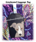 In The Hoop Greyhound Luggage Tag Embroidery Machine Design