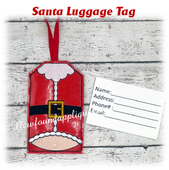 In The Hoop Santa Belly Luggage Tag Embroidery Machine Design