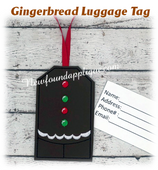 In The Hoop Gingerbread Belly Luggage Tag Embroidery Machine Design
