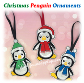 In The Hoop Christmas Penguin Ornament Embroidery Machine Set