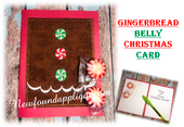 In The Hoop Gingerbread Belly  Christmas Card Embroidery Machine Design