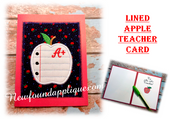 In The Hoop Lined Apple Teacher's Card Embroidery Machine Design