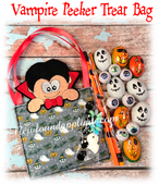 In The Hoop Vampire Peeker Treat Bag Embroidery Machine Design