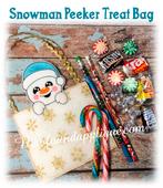 In The Hoop Snowman Peeker Treat Bag Embroidery Machine Design