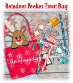 In The Hoop Reindeer Peeker Treat Bag Embroidery Machine Design