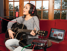 Computer, guitar, couch, mic stand and singing female not included.
