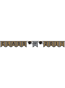Gold/Silver/Black Grad Class Of 2017 Pennant Banner