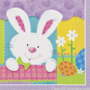 Patchwork Bunny Party Beverage Napkins 24 ct