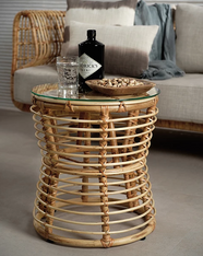 Rattan cocktail table - perfect for a sun porch or causal den.