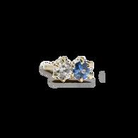 Sapphire and Diamond Duo Stud Earring