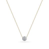 Lauren Joy Mini Disc Necklace Yellow Gold