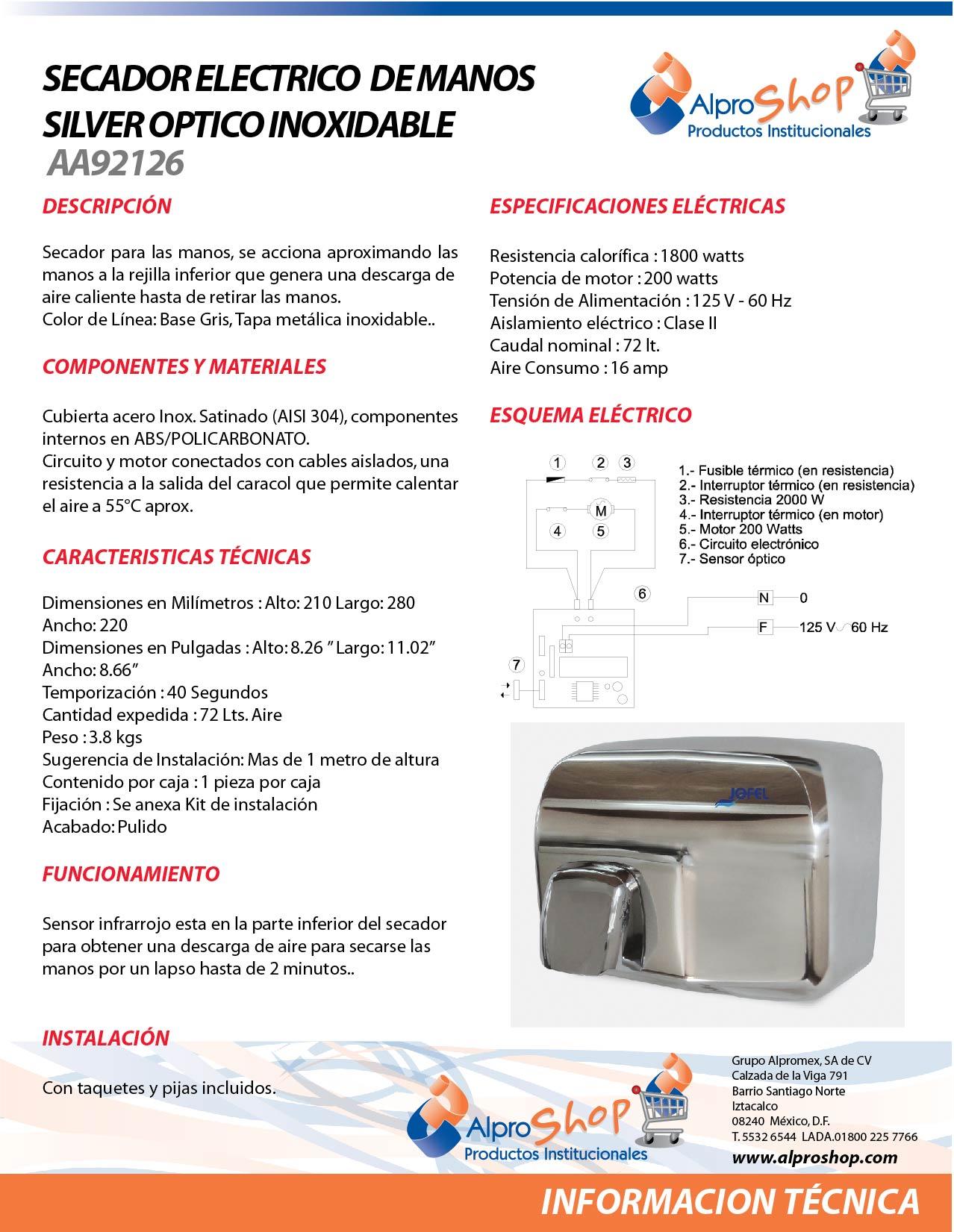 SECADOR ELECTRICO DE MANOS SILVER OPTICO Mod.AA92126 MARCA JOFEL