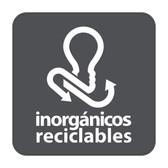 ETIQUETA DE VINIL AUTOADHERIBLE GRIS PARA RESIDUOS INORGÁNICOS RECICLABLES NORMA AMBIENTAL CDMX