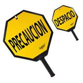 AlproShop® | 6514 PALETA SEÑALIZADORA  PARA TRAFICO DE DOBLE VISTA PRECAUCION-DESPACIO