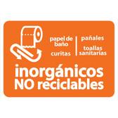 AlproShop® | ETIQUETA DE VINIL AUTOADHERIBLE NARANJA PARA RESIDUOS INORGANICOS NO RECICLABLES GRANDE
