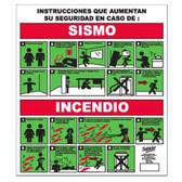 """7979 SEÑAL ELITE PLACA DE ACRILICO """"QUE HACER EN CASO DE SISMO O INCENDIO"""""""