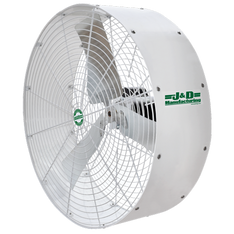 Keep air moving efficiently across your animals or in commercial and industrial applications with J&D's Poly Stormer. Made with high CFM in mind, the economical fan will give you the efficiency you want and the air flow you deserve. Polyethylene housing will not rust or corrode Galvanized G90 prop Includes hot dip galvanized mounting bracket for versatile mounting options