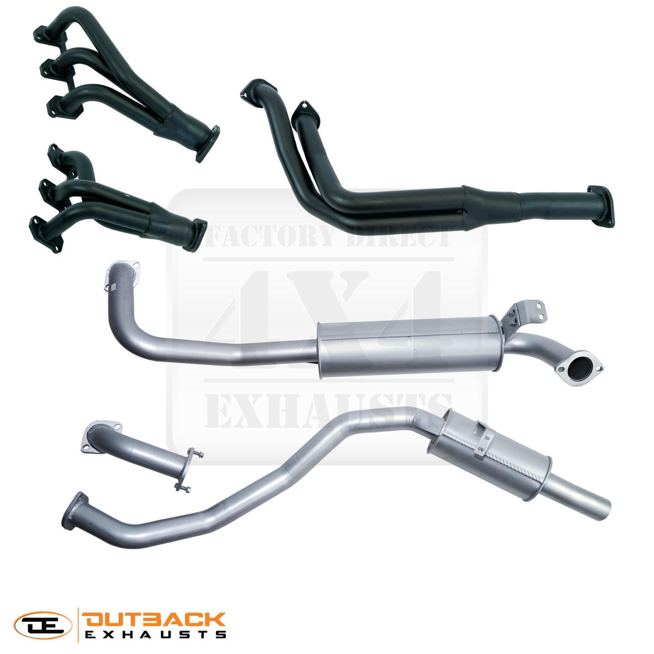 """80 Series 4 5L FZJ80 2 5"""" Aluminised Exhaust System With Extractors"""