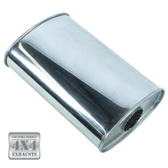"11x6"" Oval 409 Polished Stainless Steel Ultra Flow Muffler"