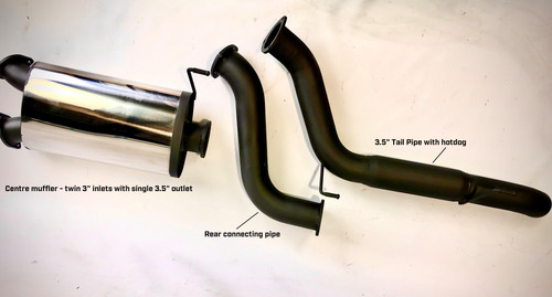 "CENTRE MUFFLER - HOTDOG IN REAR TAIL PIPE 6"" ROUND RESONATOR OPTION AVAILABLE"