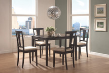 5PC TABLE/CHAIR SET, WIT HMDF VNR TBL TOP, BLACK