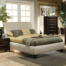 "BED, BEIGE FABRIC, 93-1/2 ""X66'X53-1/2""H"