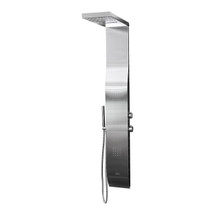 BOANN Stainless Steel Rainfall/Waterfall Shower Panel System with Hand Shower & 2 Sets of 25 Jets - Brushed Stainless
