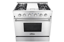THOR 36 Inch Gas Range with 5.2 cu. ft. Oven, 4 Burners, Griddle,Convection Fan, Stainless Steel