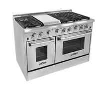 THOR 48 inch Gas Range with 6 Burners and Double Ovens in Stainless Steel