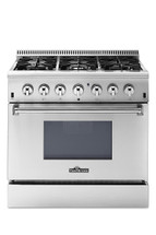 THOR 36 Inch Freestanding Professional Style Dual Fuel Range with 5.2 cu. ft. Oven, 6 Burners, Convection Fan