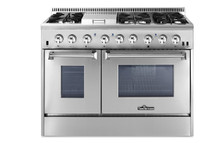 THOR 48 Inch Freestanding Professional Style Dual Fuel Range with 4.2 and 2.5 cu. ft. Double Oven, 6 Burners, Griddle, Convection Fan