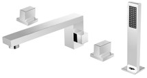 Dyconn Faucet BTF51-CHR Feather 4 Hole Roman Tub Filler Deck Mount with Matching Hand Shower For Tub & Jacuzzi , Chrome